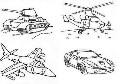 Раскраски вертолет танк самолет
