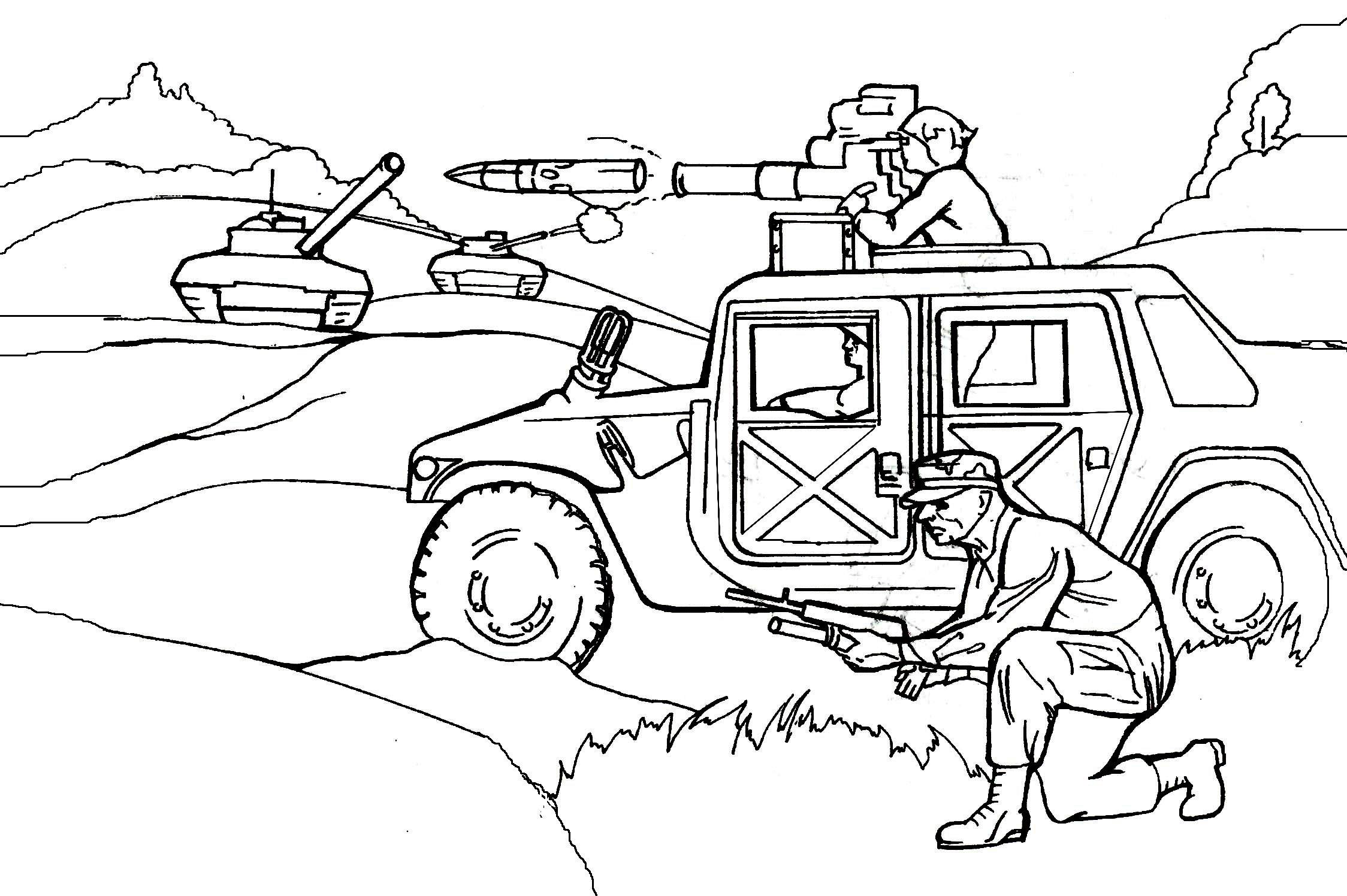 Раскраска танка Танки и машина онлайн