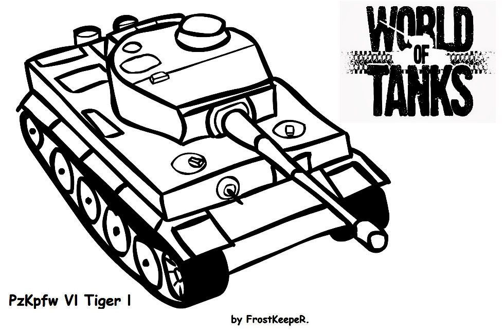 раскраска танка World Of Tanks тигр онлайн
